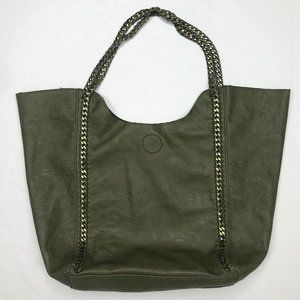 Dark olive green chain handles leather tote bag